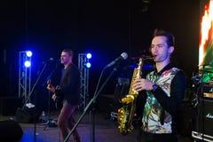 Arsen Mirzoyan和Volodymyr Lebedyev,生活音乐会在Pobuzke,乌克兰, 15 07 2017年,社论照片 免版税库存照片