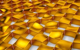 Arsenal abstracto de oro del hockey shinny y de polígonos blancos 3d rinden Imagen de archivo