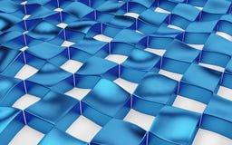 Arsenal abstracto de polígonos azules y blancos del hockey shinny 3d rinden Imagenes de archivo