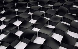 Arsenal abstracto de polígonos blancos y negros del hockey shinny 3d rinden Foto de archivo