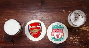 Arsenal contra liverpool imagenes de archivo