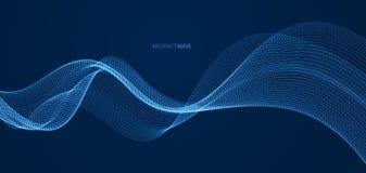 Arsenal de partículas que fluyen sobre el fondo oscuro, onda acústica dinámica ilustración del vector 3d Malla que brilla los pun ilustración del vector