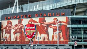 A close up view of the Arsenal stadium, Venue of English royalty free stock image