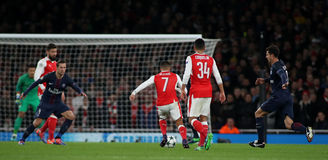 Arsenal FC v Paris Saint-Germain - UEFA Champions League. LONDON, ENGLAND - NOVEMBER 23 2016: During the Champions League match between Arsenal and Paris Saint stock image