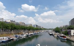 Arsenal harbor in Paris stock photography