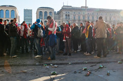 Arsenal London fans preparing for football match Stock Image