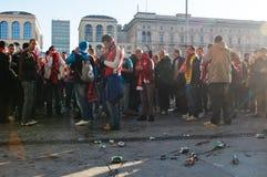 Arsenal London fans preparing for football match Stock Image