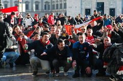 Arsenal London fans singing Royalty Free Stock Image