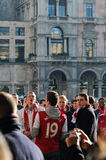 Arsenal soccer fans singing in Milan Royalty Free Stock Image