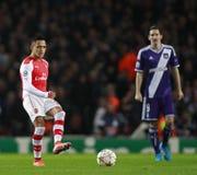 Arsenal v Anderlecht de la liga de campeones de UEFA Imágenes de archivo libres de regalías