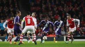Arsenal v Anderlecht de la liga de campeones de UEFA imagen de archivo libre de regalías