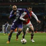 Arsenal v Anderlecht de ligue de champions d'UEFA Photos libres de droits