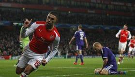 Arsenal v Anderlecht de ligue de champions d'UEFA Photos stock