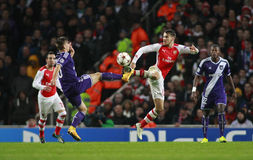 Arsenal v Anderlecht de ligue de champions d'UEFA Image libre de droits