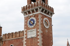 Arsenal of Venice clock tower Stock Image