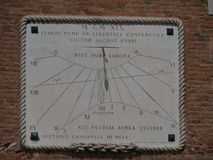 Venice - the sundial in the Arsenal. Arsenal in Venice is an example of pre industrial factory where weapons and ships were built by miles of workers stock photos