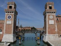 Venice - Arsenal. Arsenal in Venice is an example of pre industrial factory where weapons and ships were built by miles of workers royalty free stock photo