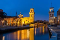 The Arsenale during the blue hour royalty free stock photography
