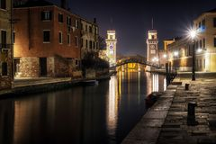Arsenale di Venezia alla notte Fotografia Stock