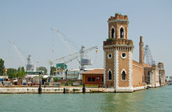 Arsenale from lagoon, Venice. View of the outer, medieval fortifications of the Arsenale of the Italian Navy viewed from the Venice lagoon Stock Images