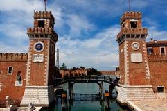 Arsenale Venedig, Italien Arkivbilder