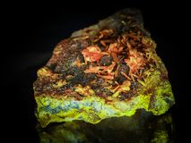 Orpiment mineral. Arsene mineral sulphate hipergenic orpiment Stock Image