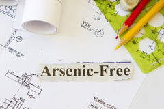 Arsenic. Abstract with engineering tools and hard hat Stock Photography