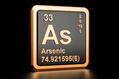 Arsenic As chemical element. 3D rendering. Arsenic As, chemical element. 3D rendering isolated on black background Stock Images