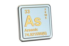 Arsenic As, chemical element sign. 3D rendering. Isolated on white background Royalty Free Stock Photos