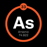 Arsenic chemical element. Arsenic, chemical element. Arsenic is a metalloid. Colored icon with atomic number and atomic weight. Chemical element of periodic royalty free illustration
