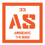 Arsenic chemical element. Arsenic, chemical element. Arsenic is a metalloid. Colored icon with atomic number and atomic weight. Chemical element of periodic stock illustration