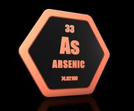 Arsenic chemical element periodic table symbol 3d render. Hexagonal shape royalty free illustration