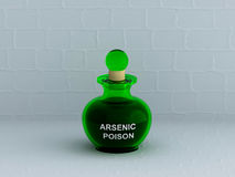 Arsenic Poison bottle with white wall stock illustration