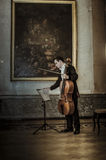 Arseniy Chubachin起来的星大提琴俄罗斯意大利大使塞萨尔玛丽亚Ragalini 库存图片