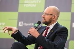 Arseniy Yatsenyuk durante el 10mo foro de la seguridad de Kyiv Imágenes de archivo libres de regalías
