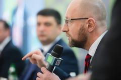 Arseniy Yatsenyuk durante el 10mo foro de la seguridad de Kyiv Foto de archivo libre de regalías