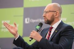 Arseniy Yatsenyuk durante el 10mo foro de la seguridad de Kyiv Fotos de archivo libres de regalías