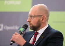 Arseniy Yatsenyuk durante el 10mo foro de la seguridad de Kyiv Fotografía de archivo