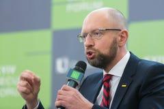 Arseniy Yatsenyuk durante o 10o fórum de segurança de Kyiv Imagens de Stock