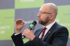 Arseniy Yatsenyuk durante o 10o fórum de segurança de Kyiv Imagem de Stock Royalty Free