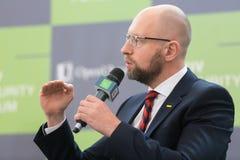 Arseniy Yatsenyuk podczas 10th Kyiv ochrony forum Obraz Stock
