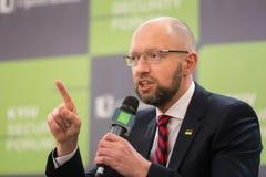 Arseniy Yatsenyuk podczas 10th Kyiv ochrony forum Obrazy Stock