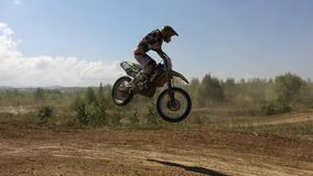 Arsenyev, Russia - august 30, 2014: Rider on a motorcycle, motocross championship. stock video