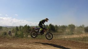 Arsenyev, Russia - august 30, 2014: Rider on a motorcycle, motocross championship. stock footage
