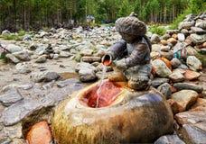ARSHAN,布里亚特共和国,俄罗斯- 2017年7月17日:雕塑 库存照片