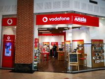 Arsis Vodafone store at mall Afi Palace Cotroceni, Bucharest. Romania. Vodafone Group Plc is a multinational british telecommunication company based in London stock photos