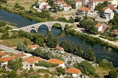 The Arslanagic Bridge from above, Trebinje, Bosnia. And Herzegovina. Thet bridge was taken, stone by stone, from a village seven kilometres up the river, and Stock Photography