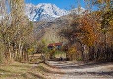 ARSLANBOB, KYRGYZSTAN: Weergeven van Arslanbob-dorp in zuidelijk Kyrgyzstan, met bergen op de achtergrond tijdens de herfst stock afbeeldingen