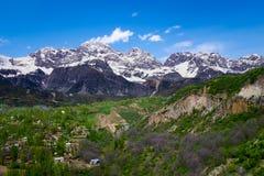 Arslanbobpanorama in Kyrgyzstan royalty-vrije stock afbeelding