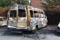 Arson. Cars and van burnt by arsonists stock image